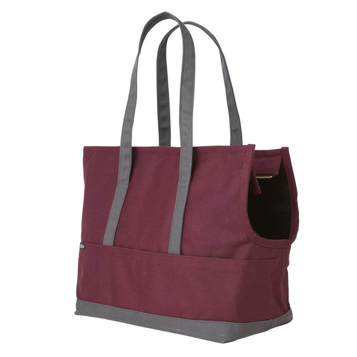LOVE THY BEAST | Canvas Pet Tote in Maroon & Dark Grey