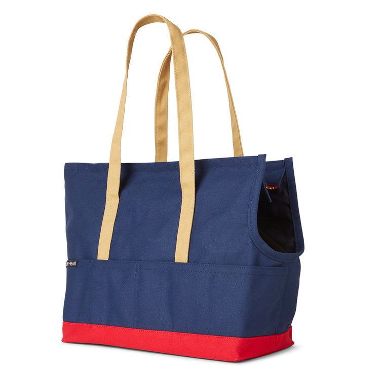 Canvas Pet Tote in Navy & Red