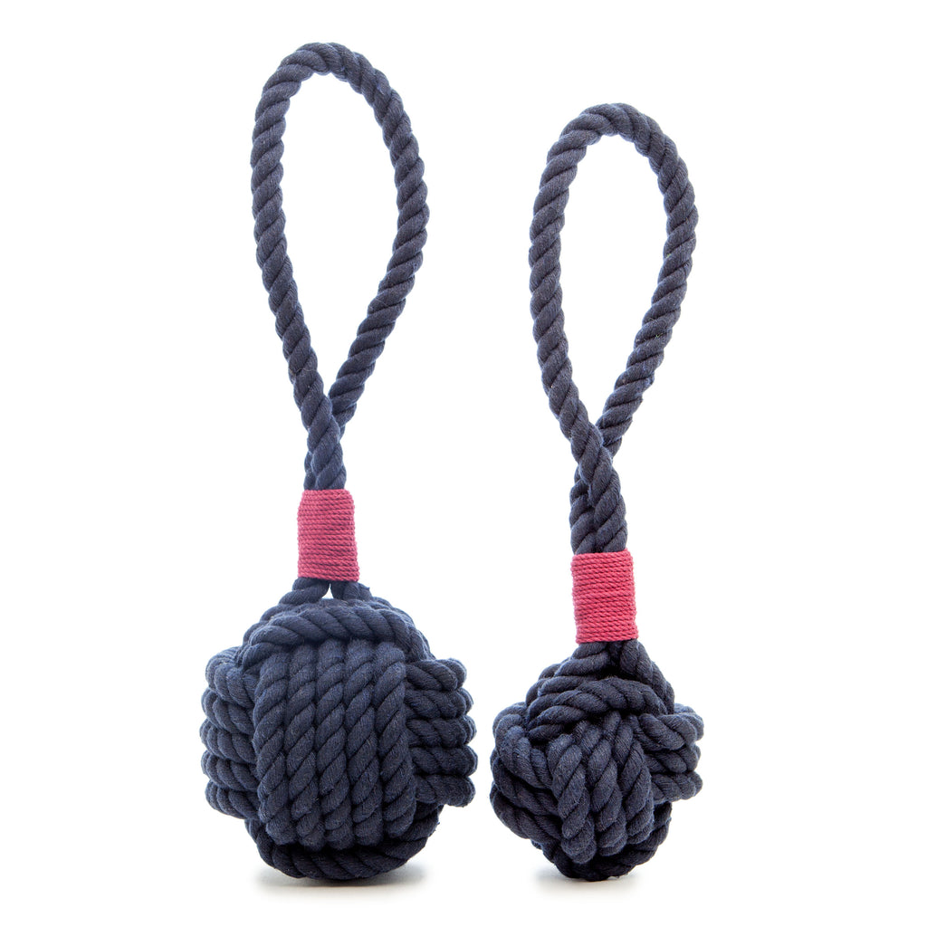 MYSTIC KNOTWORK | Monkey Fist Dog Toy in Navy with Burgundy Whipping
