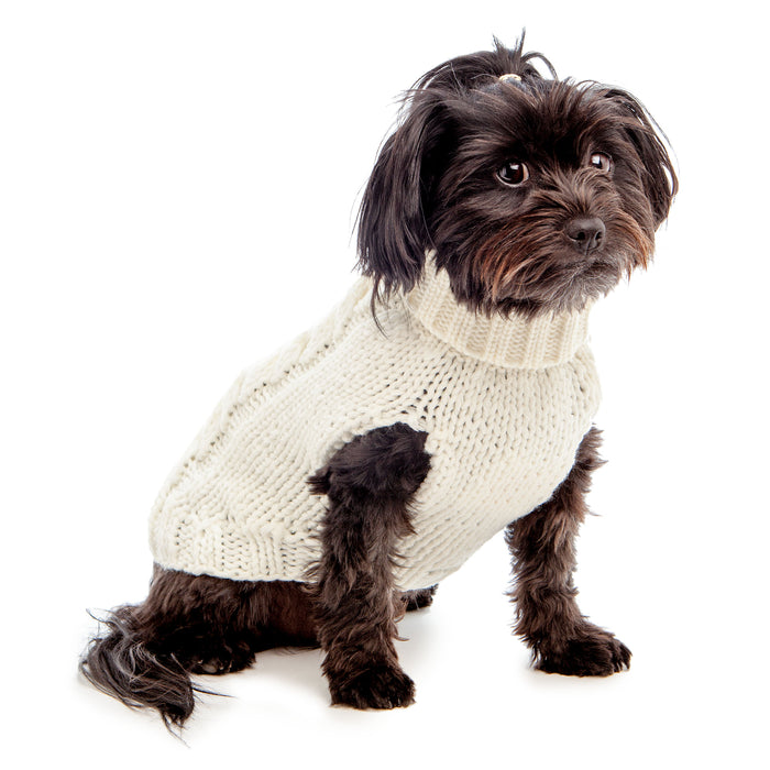 WORTHY DOG | Hand Knit Turtleneck Sweater in Cream (Dog & Co. Exclusive)