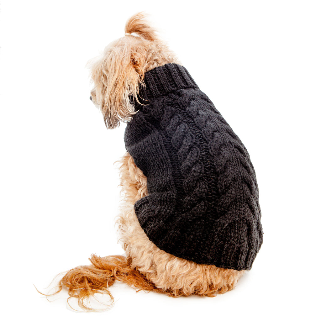Hand Knit Turtleneck Sweater in Black  (FINAL SALE)(Dog & Co. Exclusive)