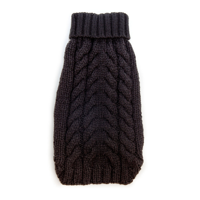WORTHY DOG | Hand Knit Turtleneck Sweater in Black (Dog & Co. Exclusive)