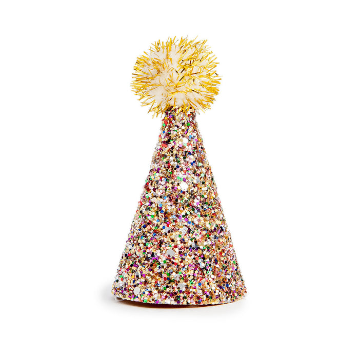 BUSTER'S PARTY SHOP | Confetti Glitter + Gold Pom Pom Mini Party Hat
