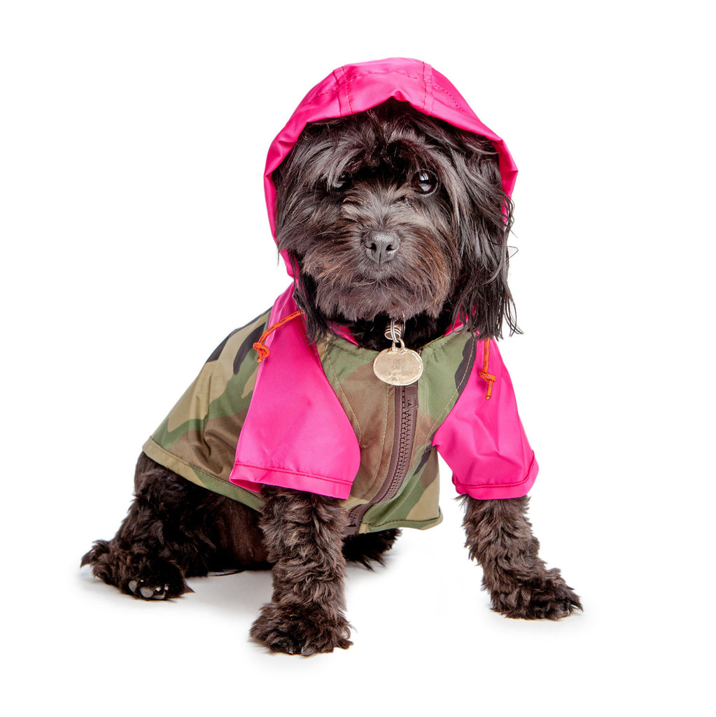 WAGWEAR | Nylon Colorblock Rainbreaker in Neon Pink + Camo (Exclusive to DOG & CO.)