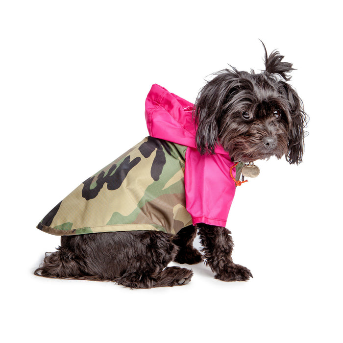 WAGWEAR | Nylon Colorblock Rainbreaker in Neon Pink + Camo