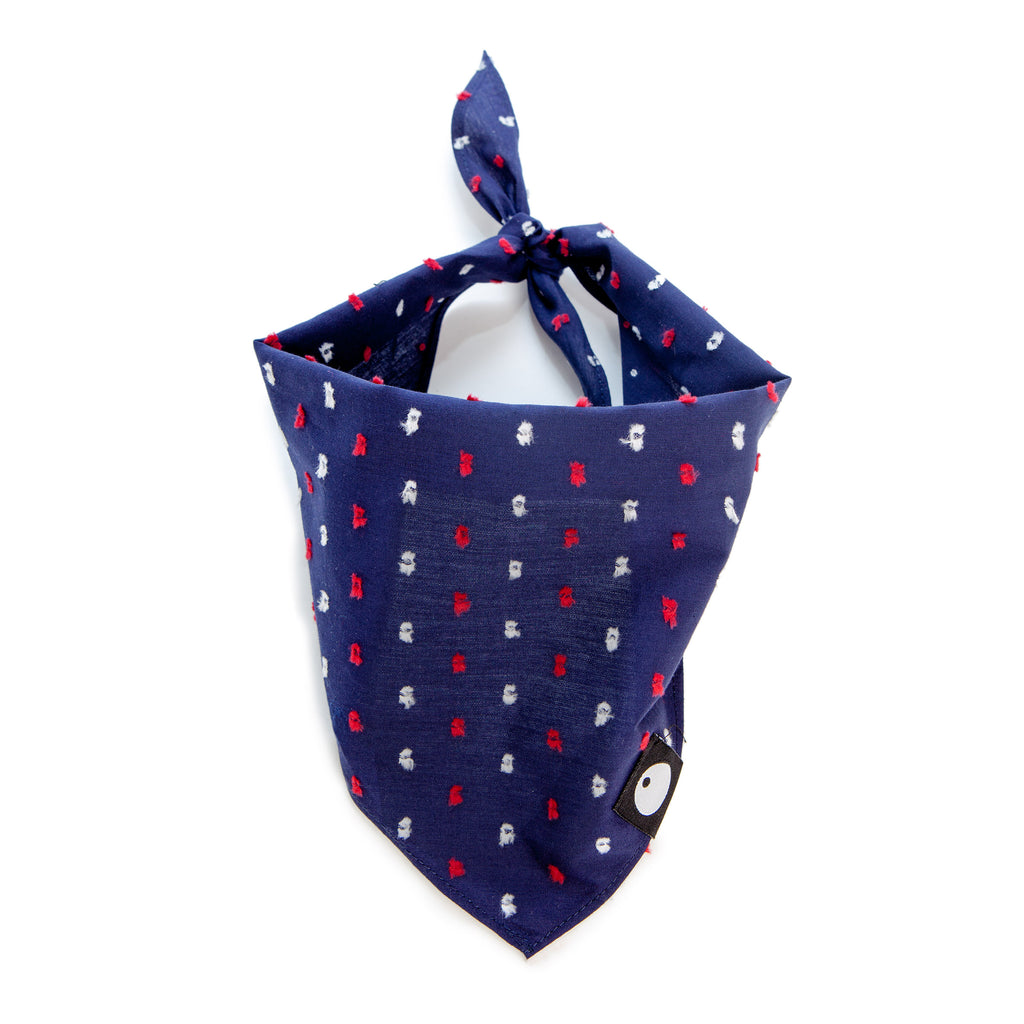 Cotton Fleck Bandana in Navy + Red (FINAL SALE)