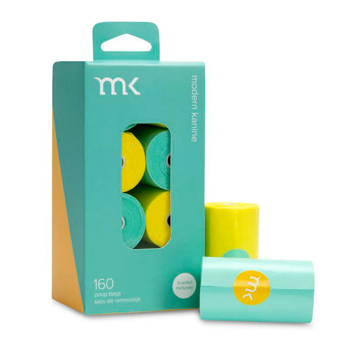 MODERN KANINE | 160 Count Poop Bags in Mint & Yellow