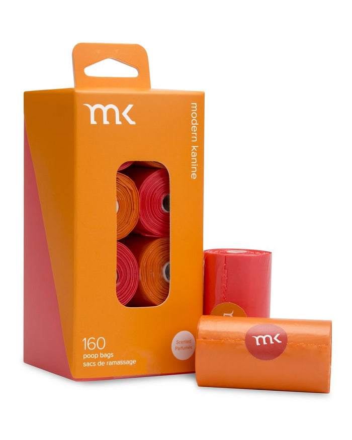 MODERN KANINE | 160 Count Poop Bags in Orange & Coral