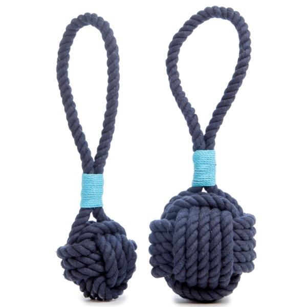 MYSTIC KNOTWORK | Monkey Fist Dog Toy in Navy with Turquoise Whipping