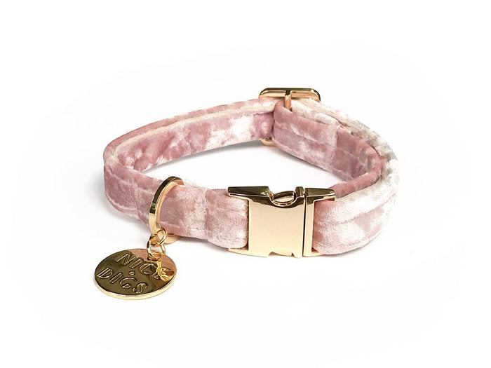 NICE DIGS | Velvet Dog Collar in Rose