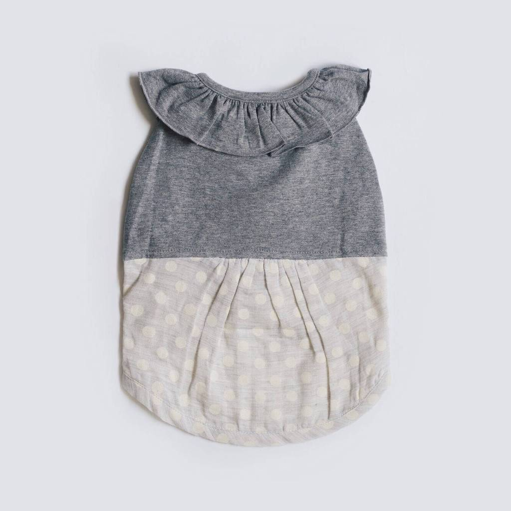 OH POP DOG | Ruffle Dress in Grey Polka Dot