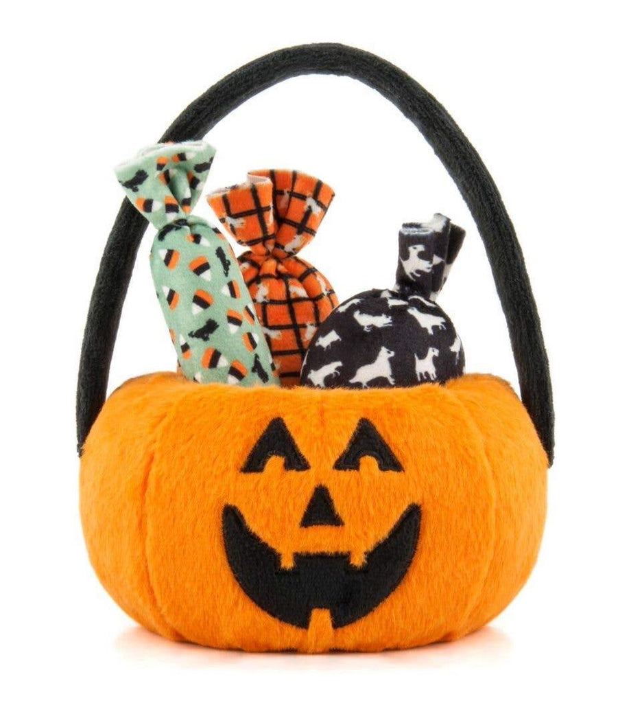 Howl-o-ween Pumpkin Basket Plush Dog Toy