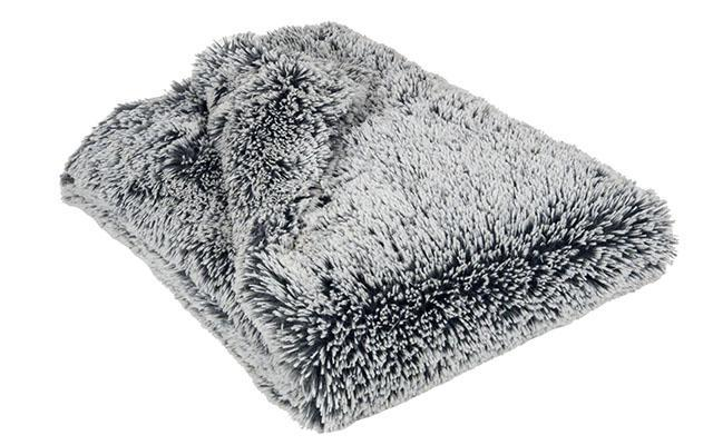 Faux Fur Blanket in Slate & Blue Steel