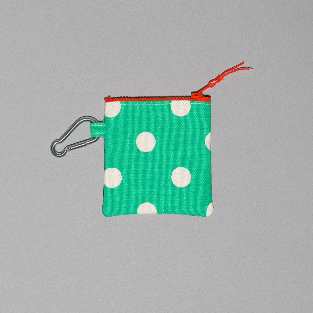 Polka Dot Canvas Pouch in Blue/Green