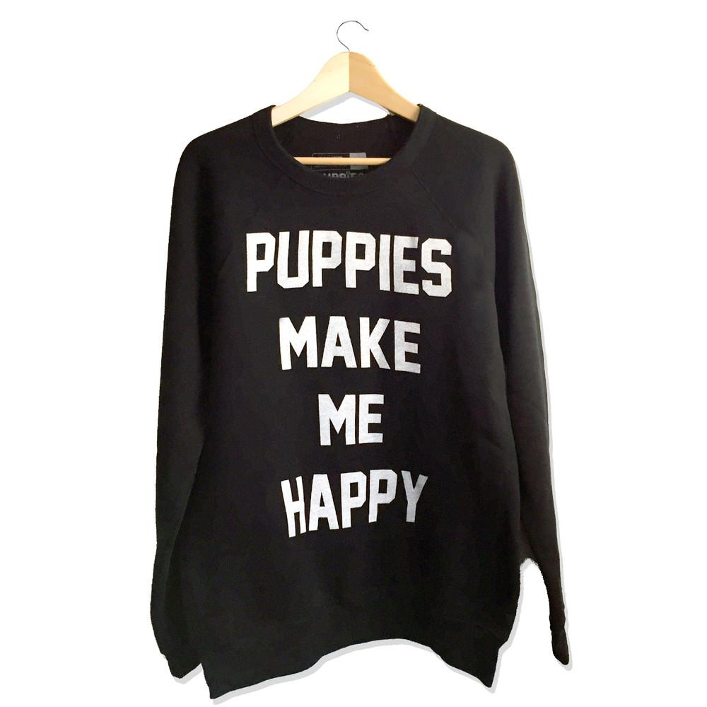 PUPPIES MAKE ME HAPPY | Crewneck Sweatshirt in Black