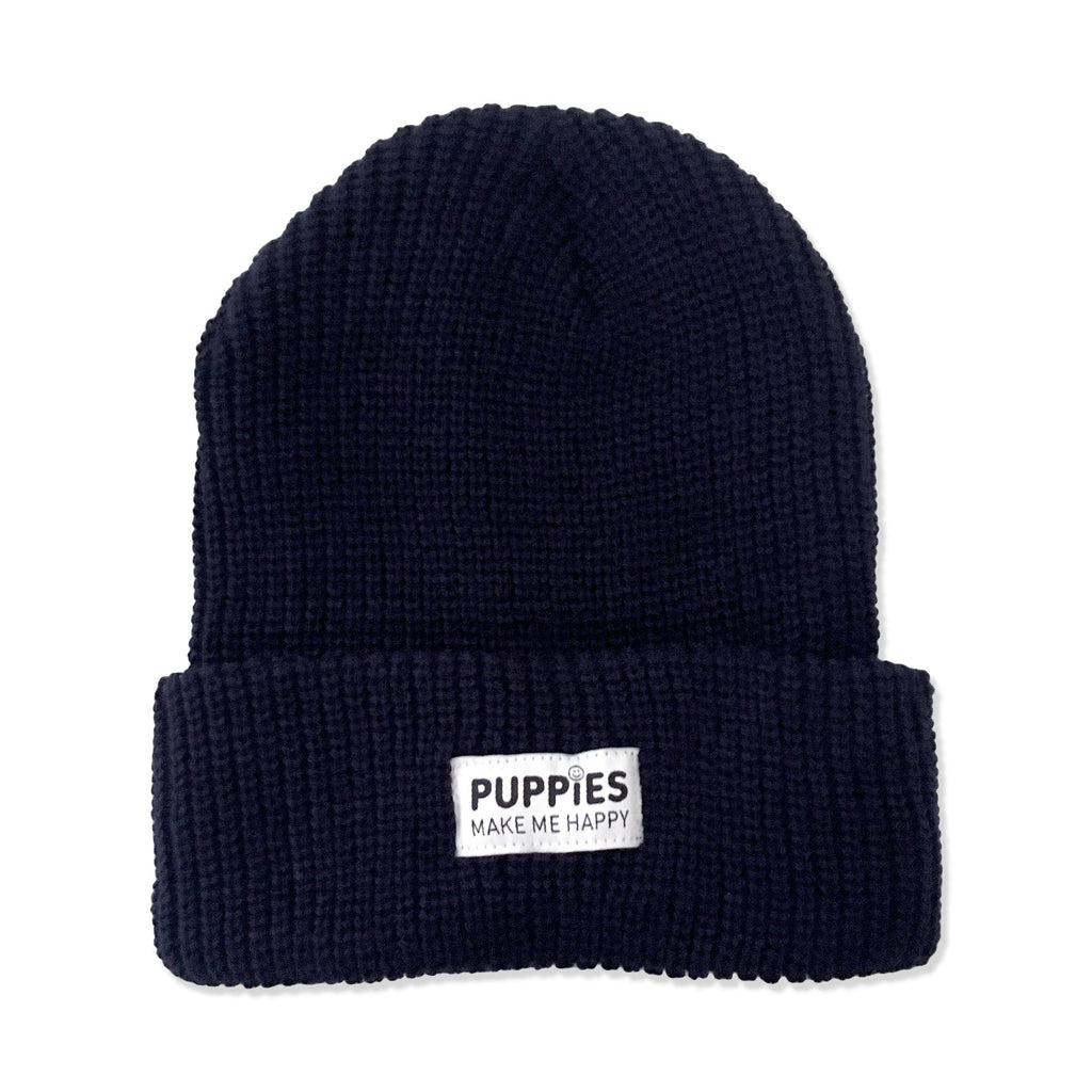 PUPPIES MAKE ME HAPPY | Label Beanie in Navy