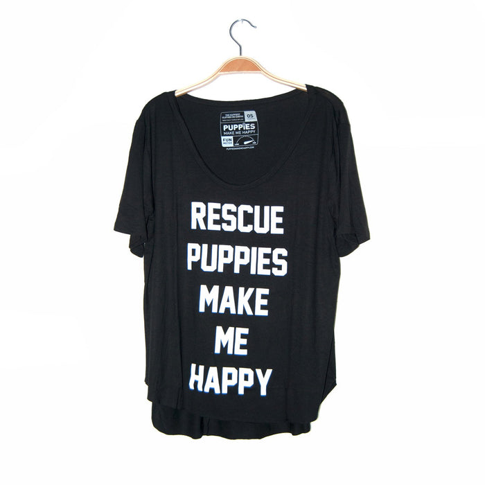 PUPPIES MAKE ME HAPPY | Rescue Puppies Make Me Happy Weekend Tee in Black