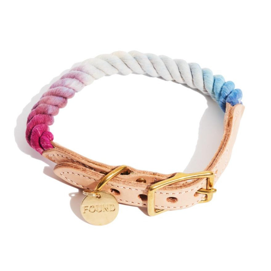 Rope Dog Collar in Mood Ring