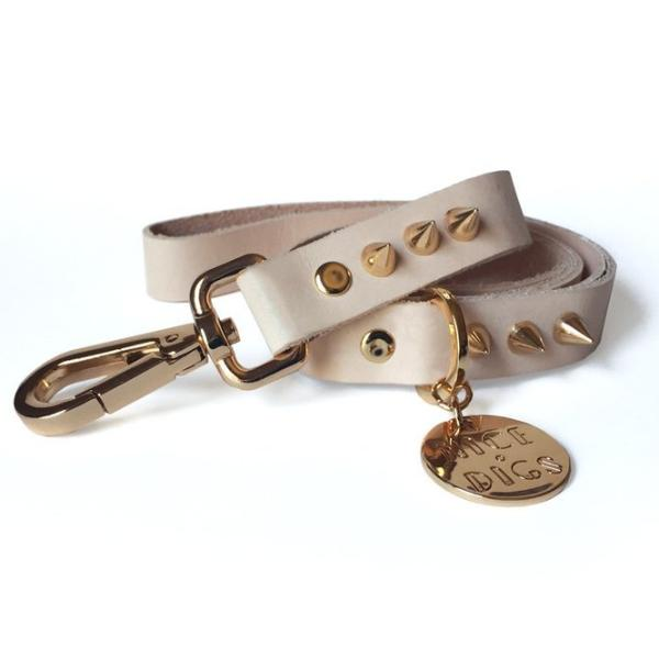 NICE DIGS | Gold Spike Leather Dog Leash