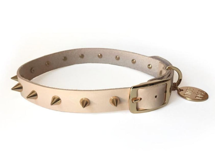 NICE DIGS | Gold Spike Leather Dog Collar