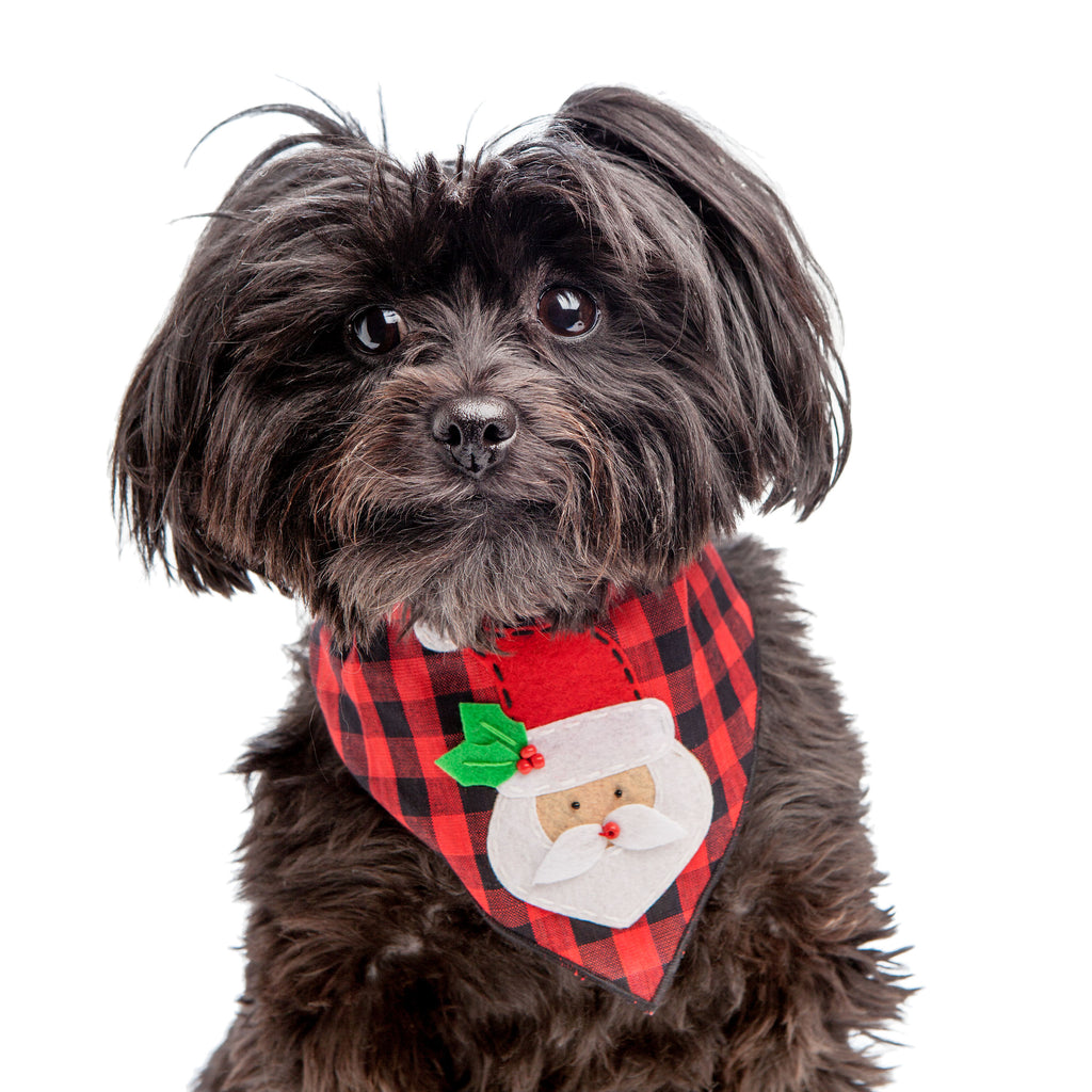 Santa Claus Buffalo Plaid Dog Bandana