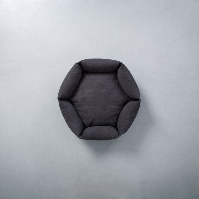 VELVET HIPPO | Rugged Canvas Hex Cushion in Shadow