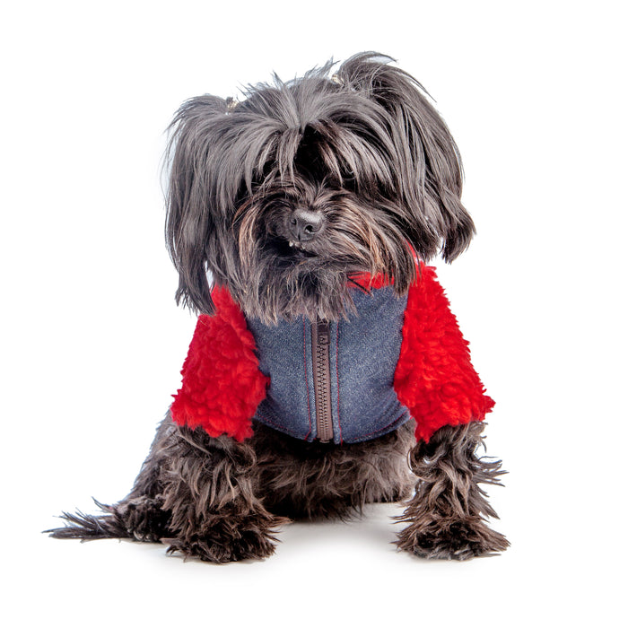 WAGWEAR | Monkey Fleece in Red and Denim (DOG & CO. Exclusive)