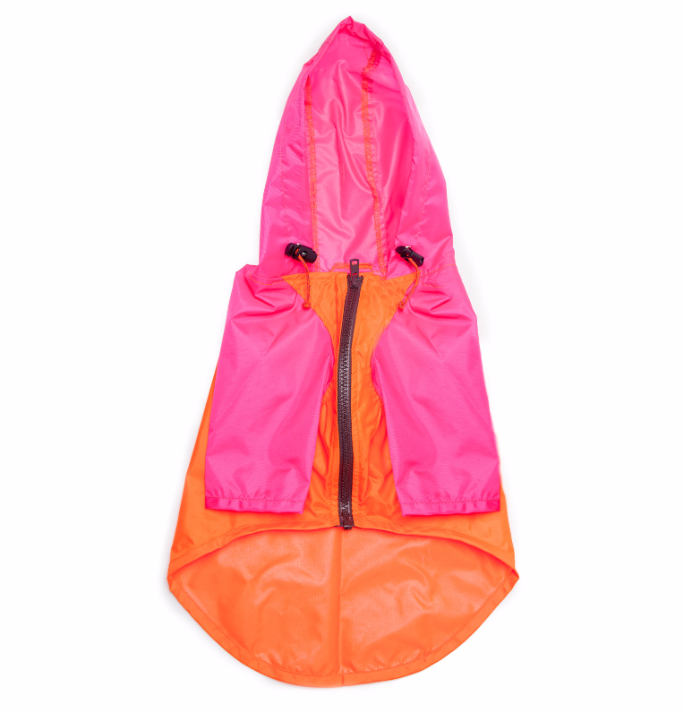 Nylon Colorblock Rainbreaker in Neon Pink + Orange (Exclusive to DOG & CO.)