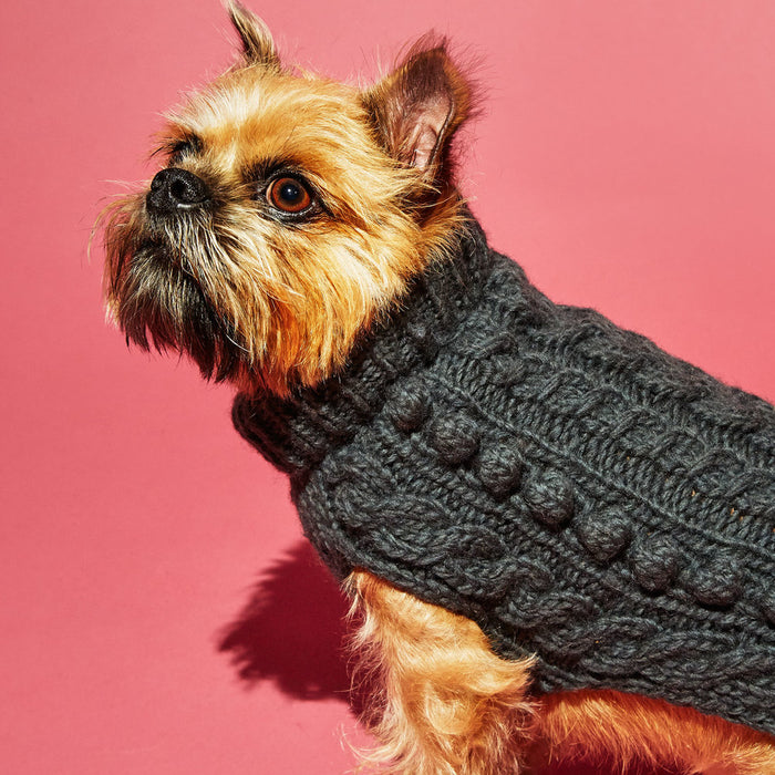WARE OF THE DOG | Cable Bobble Turtleneck in Grey