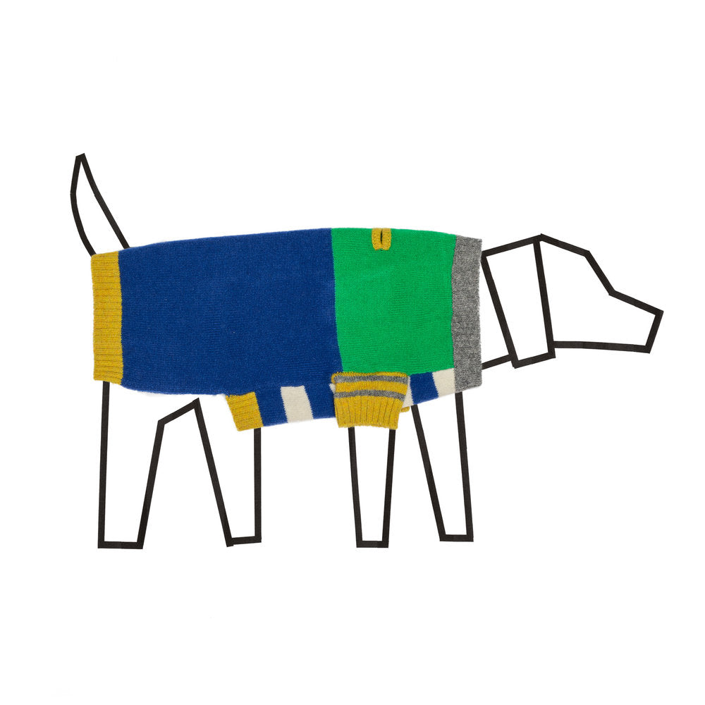 WARE OF THE DOG | Crazy Stripe Sweater in Green + Royal Blue