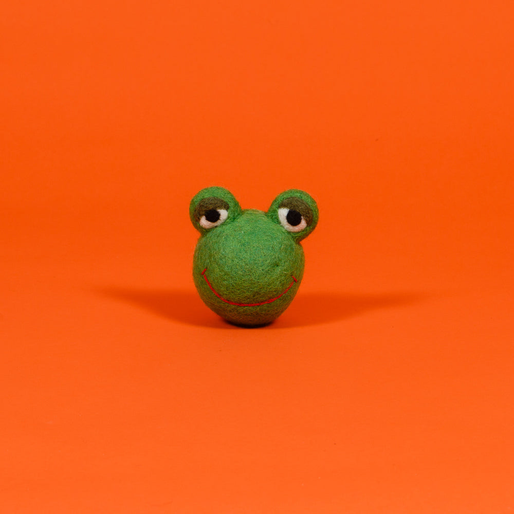 WARE of the DOG | Boiled Wool Frog Face Ball Toy