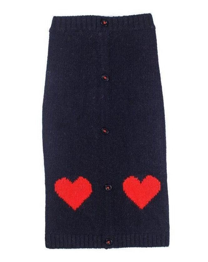 WARE OF THE DOG | Heart Cardigan Sweater in Navy