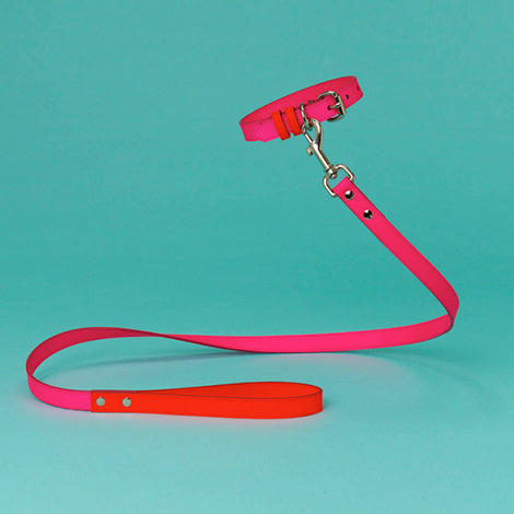 WARE of the DOG | Two Tone Leather Collar in Pink / Orange