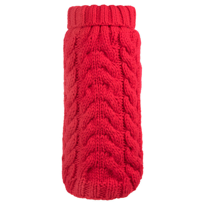 WORTHY DOG | Hand Knit Turtleneck Sweater in Red