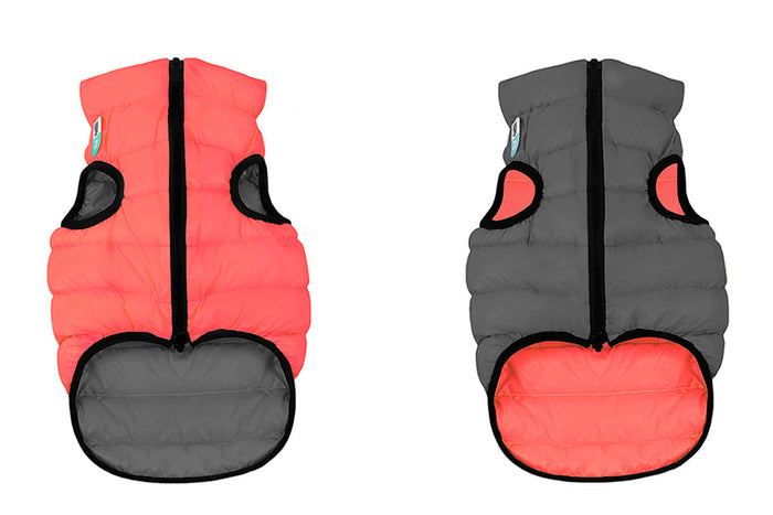 COLLAR BRAND | Reversible AiryVest in Coral and Grey (with Harness Hole)
