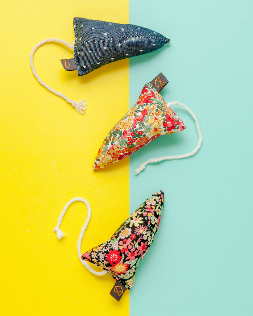 Three Modern Mice Cat Toys in Floral