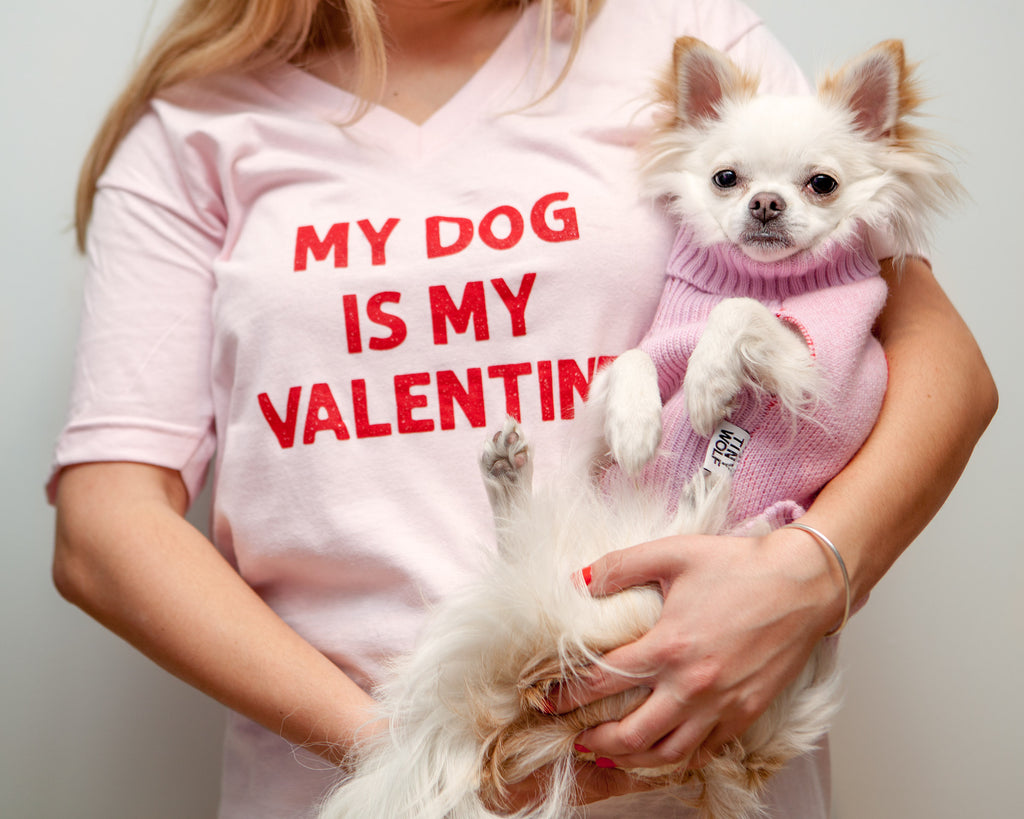 NELLIE MAE | My Dog Is My Valentine V-Neck Tee