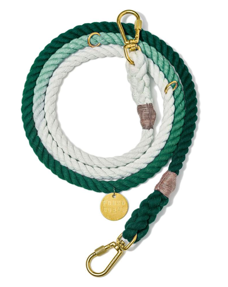 Adjustable Rope Lead in Teal Ombre (Made in the USA)