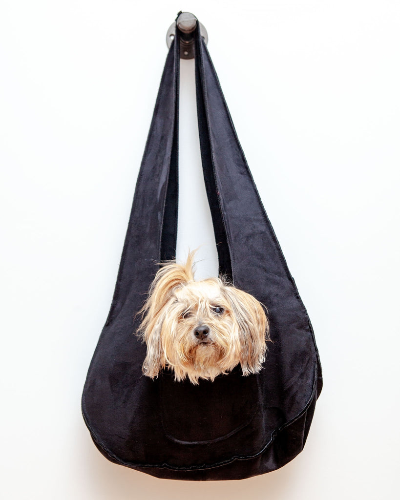 Boho Dog Sling Carrier Bag in Black (Made in the USA) (FINAL SALE)