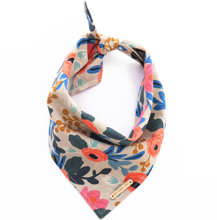 THE FOGGY DOG | Rosa Floral Natural Bandana