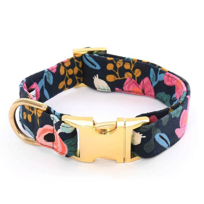 THE FOGGY DOG | Rosa Floral Navy Dog Collar