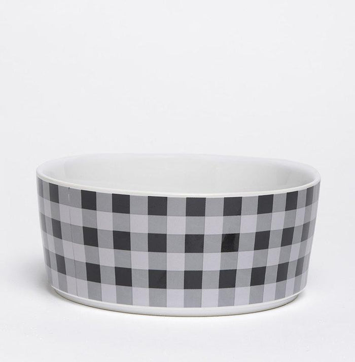 WAGGO | Ceramic Dog Bowl in Cream Buffalo Plaid