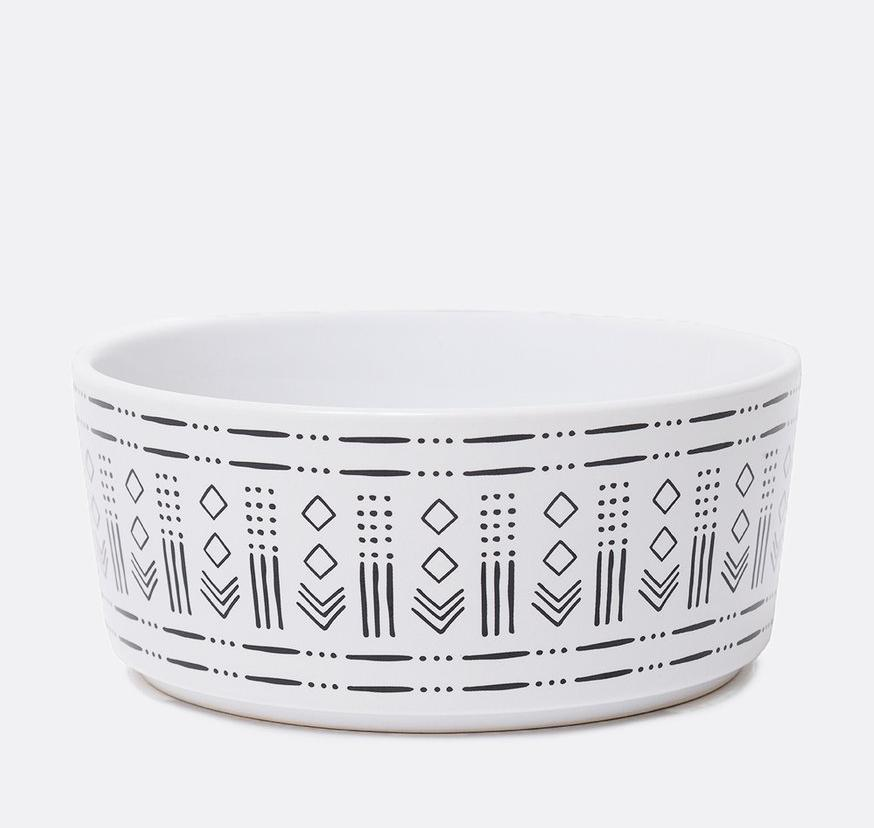 WAGGO | Mudcloth Ceramic Dog Bowl in Diamond