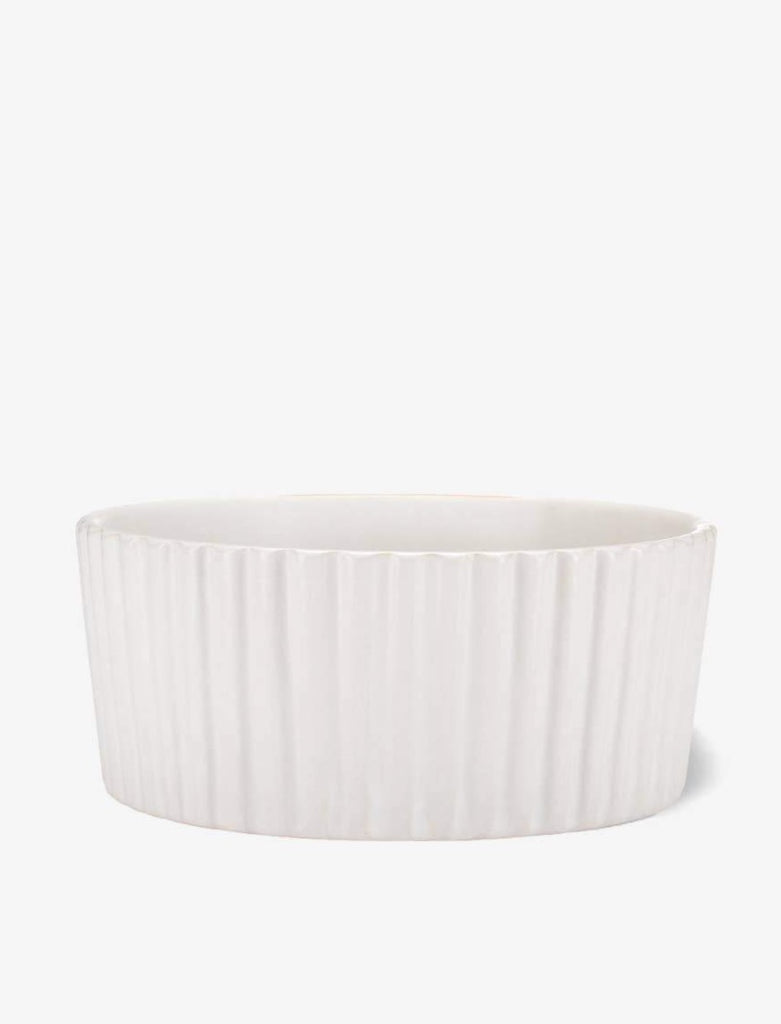 Ripple Ceramic Dog Bowl in White