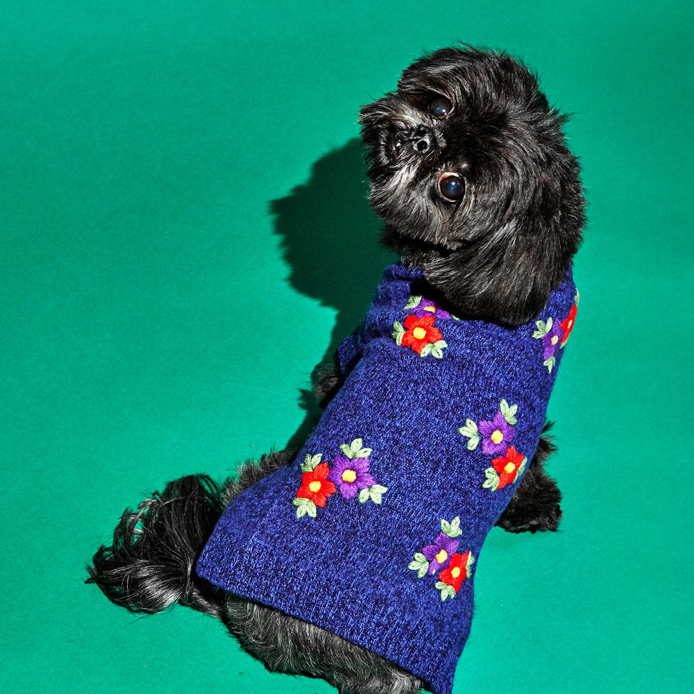 WARE OF THE DOG | Embroidered Flower Sweater in Blue Melange