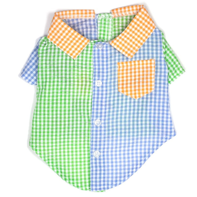 Gingham Colorblock Shirt (Drop-Ship)