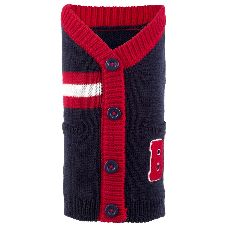 THE WORTHY DOG | Varsity Cardigan in Navy & Red