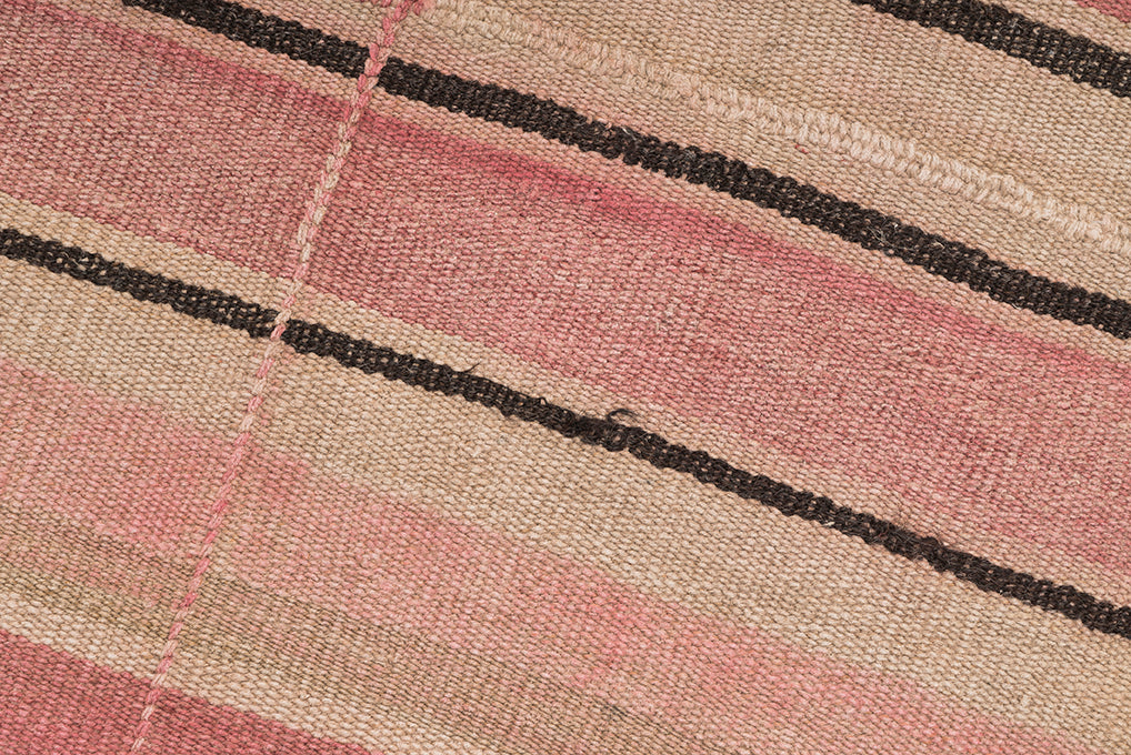 Nearly Square Pink Dyed Hemp Vintage Rug