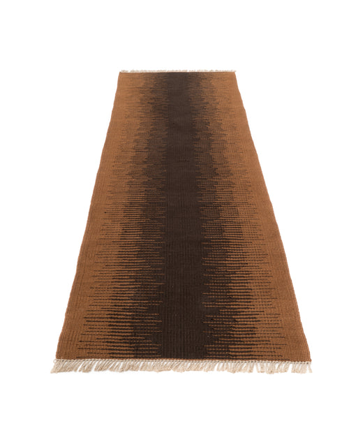 """Chocolate Dream Frequency"" Handwoven Hemp Designer Runner Rug"