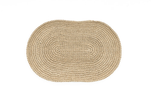 Hand Crocheted Handspun Hemp Oval Doormat